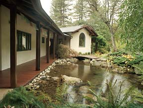 House with water garden